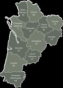 carte d'intervention de Neotik sur Bordeaux, Merignac et la Nouvelle Aquitaine
